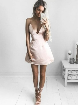 A-Line Deep V-Neck Short Light Champagne Satin Sexy Homecoming Dress