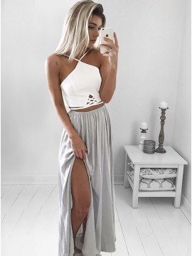 Two Piece Long Halter Backless Grey Prom Dress with Split