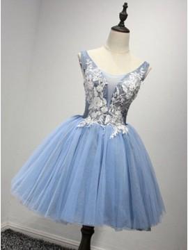 A-Line Crew Neck Blue Appliques Homecoming Dress
