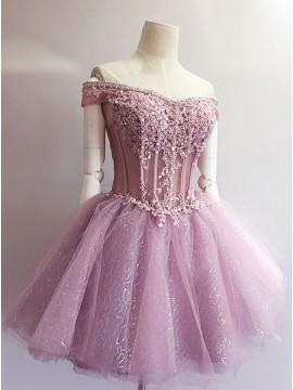 A-Line Off-the-Shoulder Appliques Short Lavender Homecoming Dress