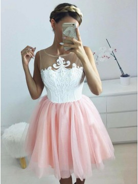 A-Line Jewel Appliques Blush Tulle Homecoming Dress