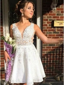 A-Line V-Neck Short White Lace Homecoming Dress with Appliques Sequins
