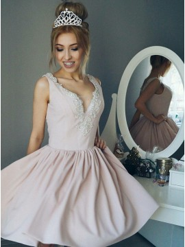 A-Line Scoop Pink Homecoming Dress with Beaing Pearls