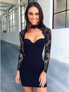 Sheath High Neck Long Sleeves Black Cocktail Short Homecoming Dress with Lace