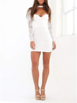 Sheath High Neck Long Sleeves White Cocktail Short Homecoming Dress with Lace