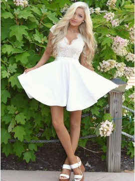 A-Line V-Neck Cap Sleeves Open Back White Homecoming Dress