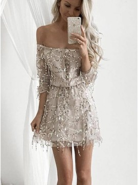 A-Line Off The Shoulder Long Sleeves Short Light Champagne Sequined Homecoming Dress