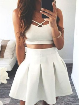 Two Piece Spaghetti Straps Short White Homecoming Dress with Pockets