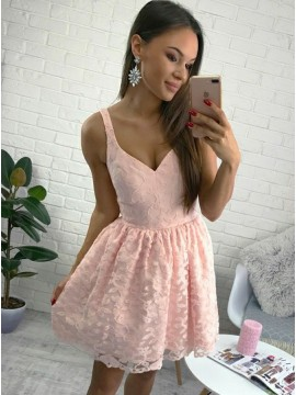 A-Line Straps Short Pink Lace Homecoming Dress