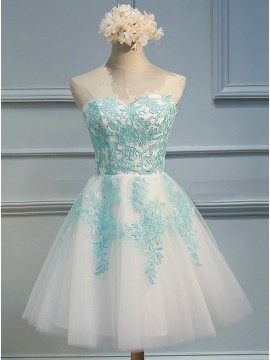 A-Line Sweetheart Lace-Up Short Homecoming Dress with Blue Appliques