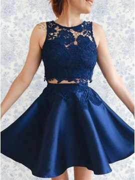 Two Piece A-Line Jewel Short Navy Blue Homecoming Dress with Lace Appliques