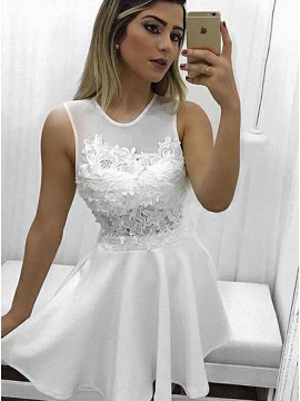 A-Line Jewel White Short Satin Homecoming Dress with Appliques