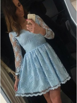 A-Line V-Neck Long Sleeves Blue Homecoming Dress with Appliques
