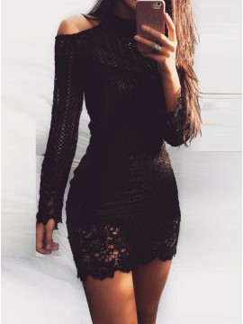 Bodycon High Neck Long Sleeves Lace Little Black Dress