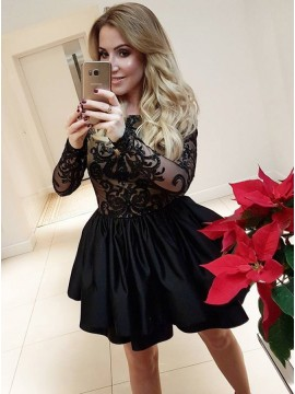 A-Line Crew Above-Knee Black Tiered Homecoming Dress with Appliques