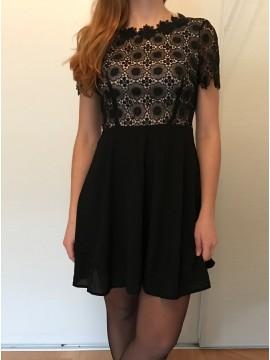 A-Line Scalloped Short Sleeves Open Back Chiffon Little Black Dress