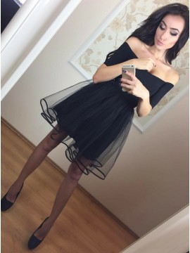 A-Line Off-the-Shoulder Short Sleeves Little Black Dress