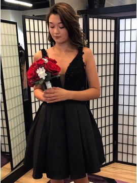 A-Line V-Neck Black Homecoming Dress with Lace