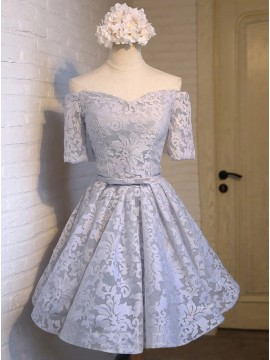 A-Line Off-the-Shoulder Short Sleeves Light Blue Homecoming Dress