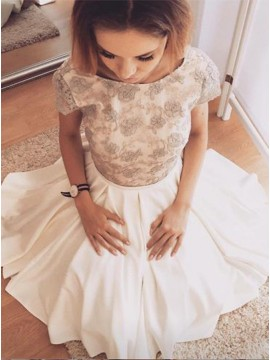 A-Line Bateau Cap Sleeves Ivory Homecoming Dress with Lace