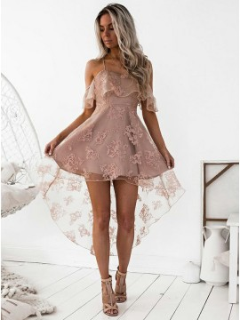 A-Line Spaghetti Straps Hi-Lo Blush Lace Homecoming Dress
