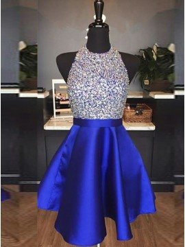 A-Line Jewel Backless Royal Blue Homecoming Dress with Beading