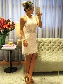 Sheath Round Neck White Lace Cocktail Dress with Pearls