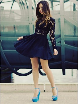 A-Line Round Neck Long Sleeves Black Homecoming Dress with Lace