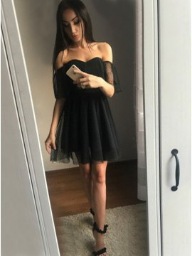 A-Line Off-the-Shoulder Short Black Tulle Homecoming Dress