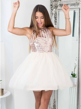 A-Line Halter Pink Tulle Homecoming Dress with Sequins