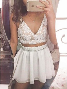 Two Piece V-Neck White Chiffon Homecoming Dress with Lace