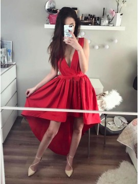 A-Line V-Neck Hi-Lo Red Satin Homecoming Dress