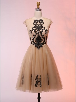 A-Line Round Neck Cap Sleeves Champagne Homecoming Dress with Appliques