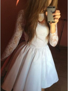 A-Line Jewel 3/4 Sleeves White Satin Homecoming Dress with Lace