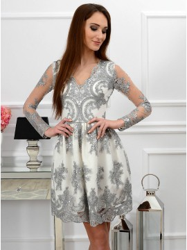 A-Line V-Neck Long Sleeves Grey Homecoming Dress with Appliques