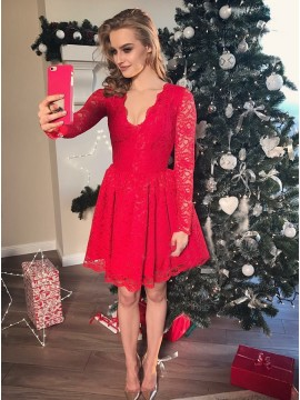 A-Line V-Neck Long Sleeves Short Red Lace Homecoming Dress