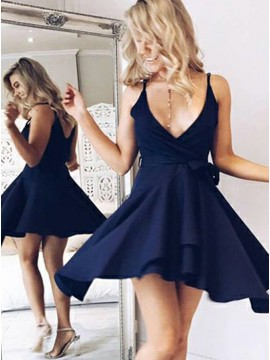 A-Line V-Neck Short Navy Blue Homecoming Dress with Sash