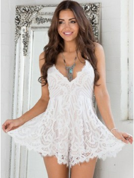 A-Line V-Neck Criss-Cross Straps White Lace Homecoming Dress