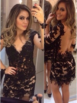 Sheath V-Neck Long Sleeves Illusion Back Black Cocktail Dress with Appliques