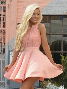 A-Line Crew Sleeveless Short Coral Stretch Satin Homecoming Dress with Lace