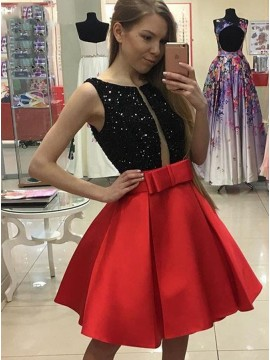 A-Line Jewel Sleeveless Knee-Length Red Homecoming Dress with Sequins Bowknot