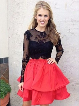 A-Line Jewel Long Sleeves Above-Knee Red Homecoming Dress with Appliques