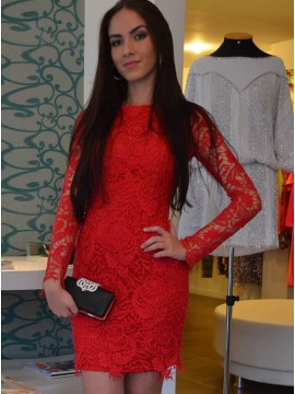 Sheath Bateau Long Sleeves Above-Knee Illusion Back Red Lace Cocktail Dress