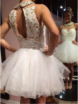 A-Line Jewel Sleeveless Open Back Short Homecoming Dress with Lace Beading