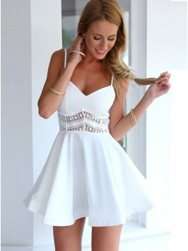 A-Line Spaghetti Straps Short White Stretch Satin Homecoming Dress with Hollow