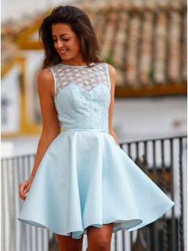 A-Line Jewel Sleeveless Above-Knee Backless Sky Blue Homecoming Dress with Lace