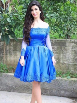 A-Line Off-the-Shoulder Long Sleeves Royal Blue Homecoming Dress with Appliques