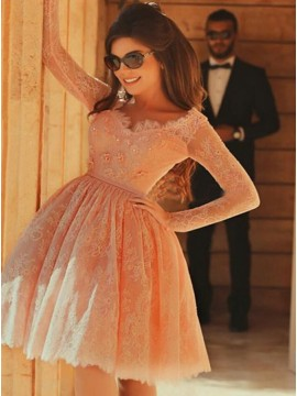 A-Line Square Long Sleeves Coral Lace Homecoming Dress with Appliques