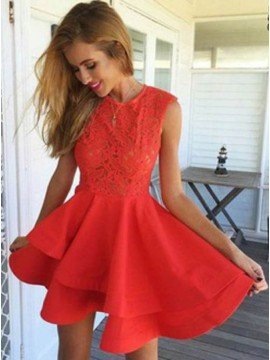 A-Line Jewel Sleeveless Short Red Stretch Satin Homecoming Dress with Lace