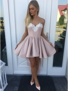 A-Line Sweetheart High Low Blush Appliques Homecoming Dress